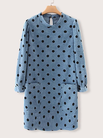 Polka Dot Keyhole Back Pocket Corduroy Dress