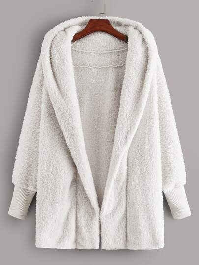 Open Front Hooded Teddy Coat