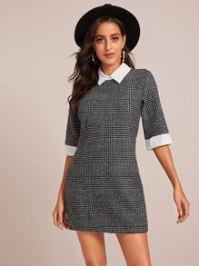 Plaid Contrast Collar Tunic Dress