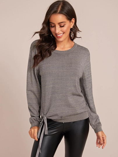 Tie Side Round Neck Sweater