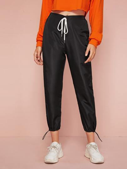 Tie Waist Drawstring Hem Wind Pants