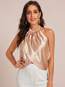 Solid Satin Surplice Halter Top