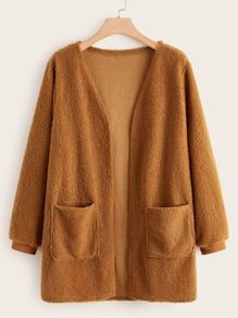 Plus Flap Pocket Open Front Teddy Coat