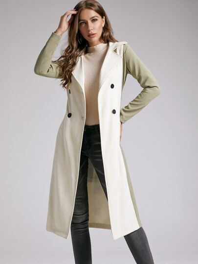 SBetro Double Button Two Tone Belted Trench Coat