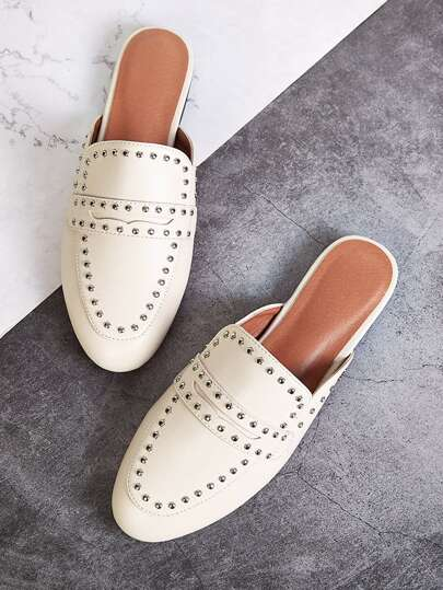 Studded Decor Flat Mules
