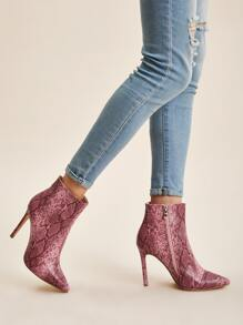 Point Toe Snakeskin Stiletto Boots