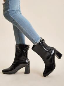 Patent Point Toe Zip Back Chunky Boots