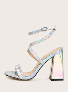 Holographic Cross Strap Chunky Heels