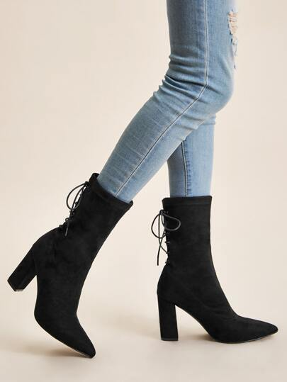Point Toe Tie Back Chunky Boots