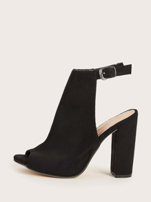 Peep Toe Ankle Strap Chunky Heels