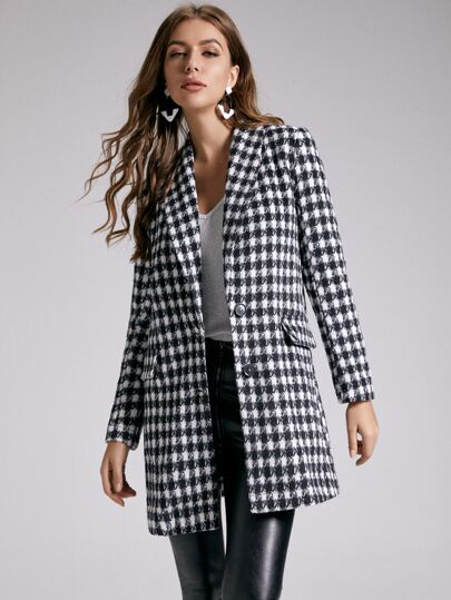 SBetro Single Breasted Shawl Collar Gingham Overcoat