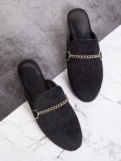Chain Decor Fuzzy Flat Mules