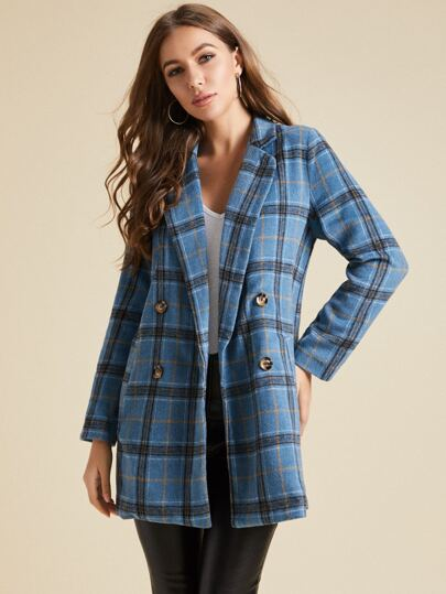 SBetro Notched Collar Double Button Plaid Coat