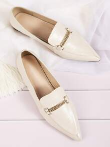 Point Toe Metal Detail Croc Flat Loafers
