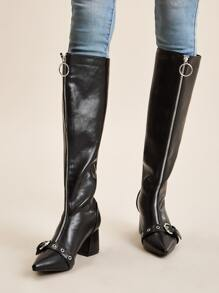 Buckle Decor Zip Front Knee High Chunky Boots