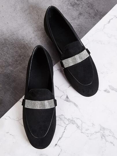 Rhinestone Decor Flat Loafers