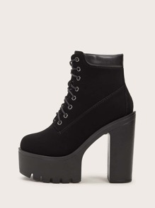 Lace-up Front Chunky Boots