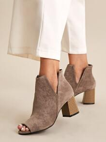 Side Cut Peep Toe Chunky Boots