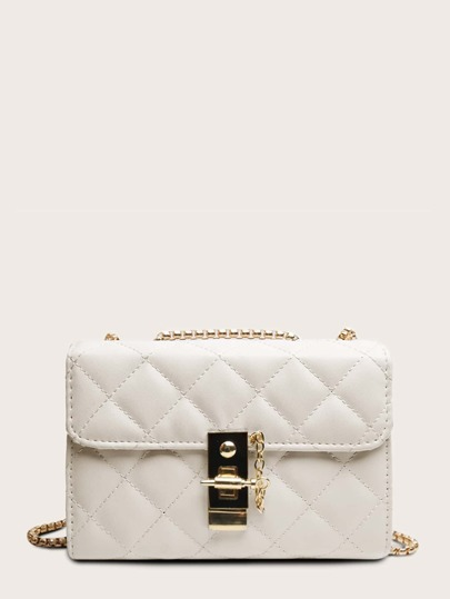 Metal Lock Detail Quilted Chain Bag