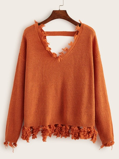 V Neck Frayed Trim Sweater