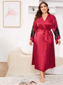 Plus Contrast Lace Satin Belted Robe