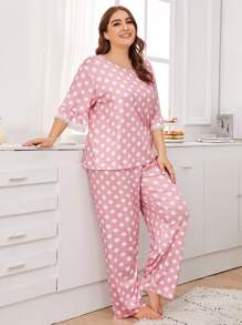 Plus Polka Dot Lace Trim PJ Set