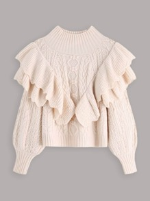 Ruffle Scallop Trim Layered Jumper