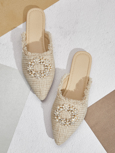 Raw Trim Faux Pearl Decor Flat Mules