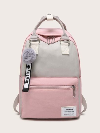 Pom Pom Decor Color Block Backpack
