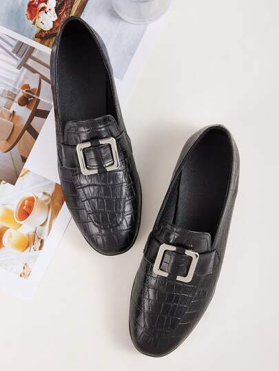 Croc Embossed Flat Loafers