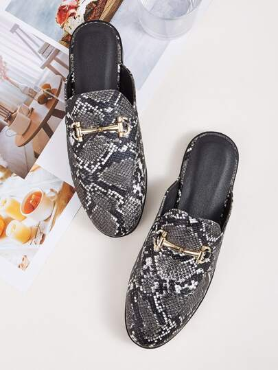 Snakeskin Flat Loafers Mules