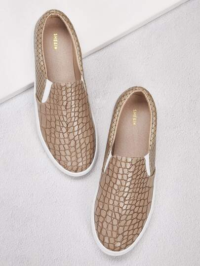 Croc Embossed Slip On Sneakers