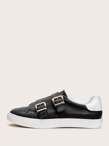 Double Buckle Decor Sneakers