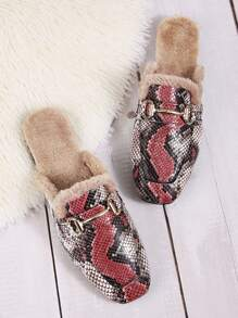 Square Toe Snakeskin Faux Fur Lined Mules