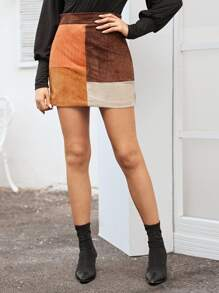 Suede Contrast Panel Mini Skirt
