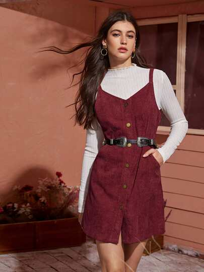 Button Up Corduroy Cami Dress Without Tee & Belt