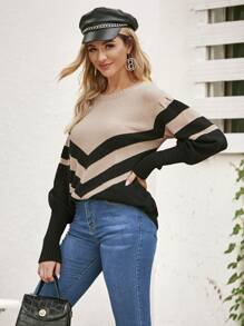 Chevron Print Leg-of-mutton Sleeve Sweater