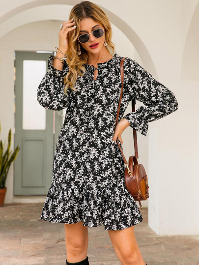 Tie Front Plants Print Smock Dress