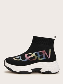 Letter Graphic Sock Sneakers