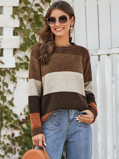 Cut And Sew Ribbed Knit Trim Sweater