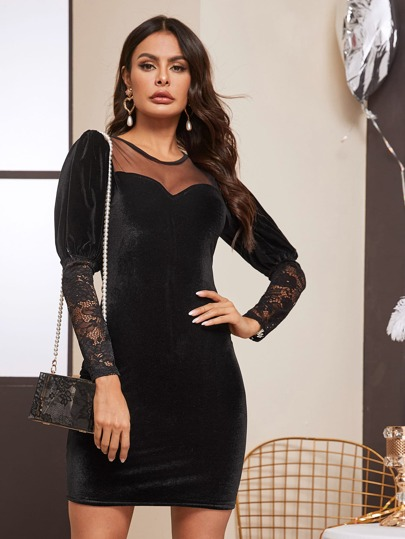 Contrast Lace Sheer Mesh Panel Velvet Dress