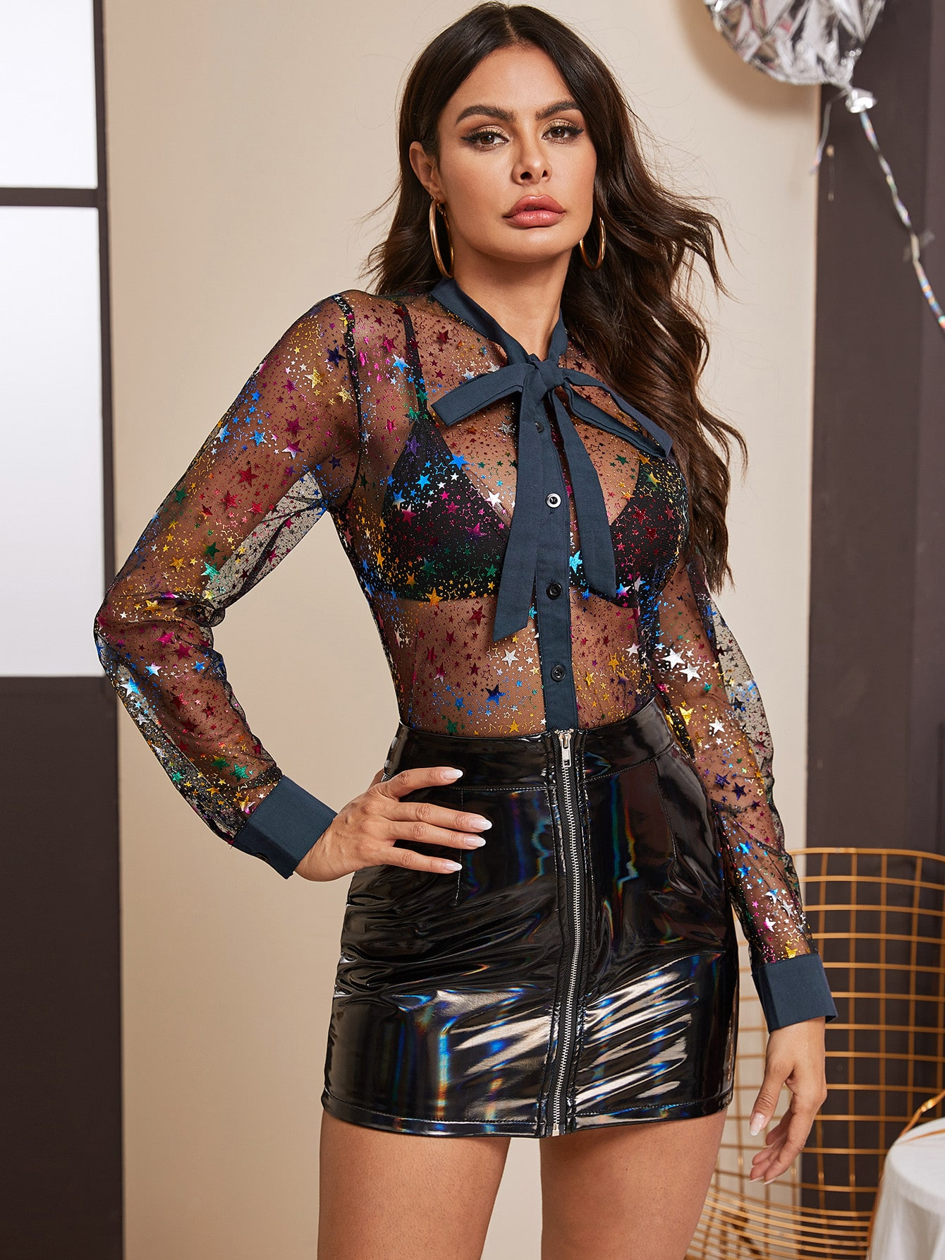 Amazing breasts in sheer blouse