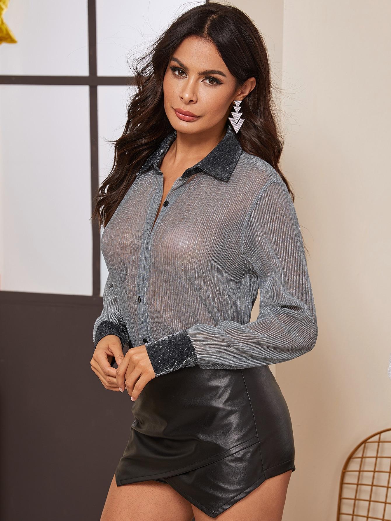 Grau Durchsichtig Colorblocks Sexy Blusen | SHEIN