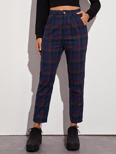 Plaid Print Straight Leg Pants