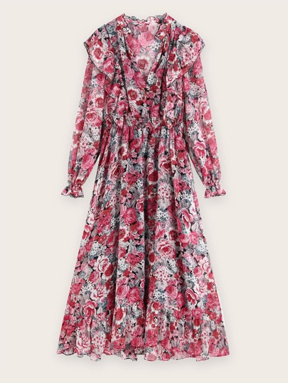 Floral Print Ruffle Trim Flare Hem Dress
