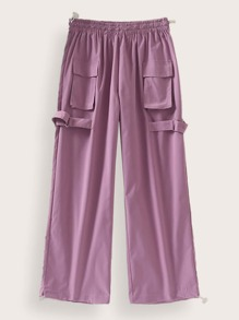 Drawstring Wide Leg Buckle Tape Pants