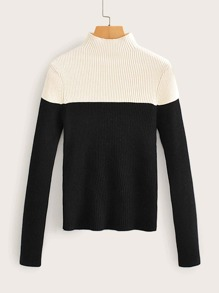 Two Tone Rib-Knit Jumper