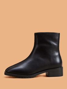 Square Toe Side Zip Ankle Boots