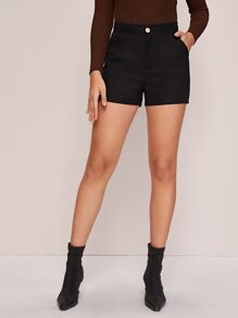 Slant Pocket Button Fly Solid Shorts