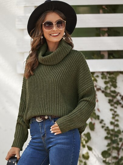 Ribbed Knit Turtleneck Oversized Sweater